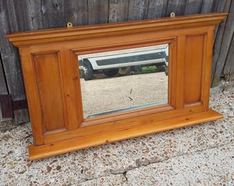 Vintage Solid Pine Over Mantel Mantle Mirror COLLECTION ONLY