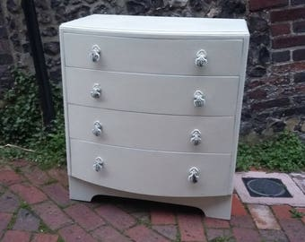 Vintage Painted Shabby Chic Chest of Drawers Round Front COLLECTION ONLY
