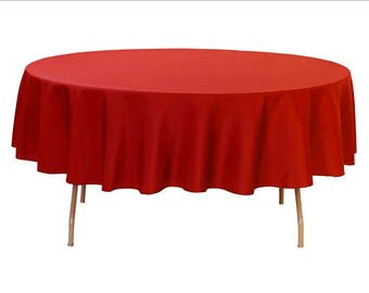 Yourchaircovers   90 Inch Round Polyester Tablecloth Red