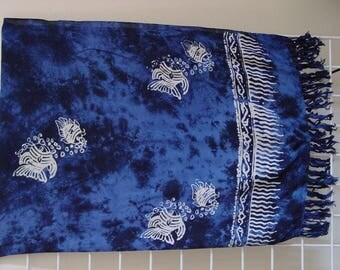 SUMMER SALE Sarong Pareo Beach Cover-up  Wrap Dress Skirt Hawaiian Bali  Blue  color