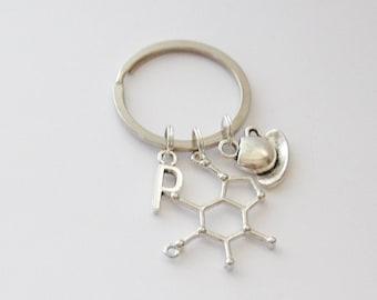 Caffeine Molecule Keychain, Coffee Keychain, Coffee mug Keychain, Caffeine Keychain, Coffee Jewelry, Caffeine Jewelry, Science Keychain