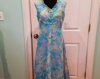 Vintage 70'S Watercolor Chiffon Ruffle Maxi Dress