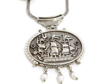 Sterling Silver Pendant with a ship, inspired from Greek folk art - Handmade