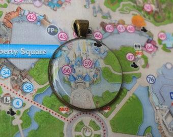 Magic Kingdom Map Necklace *magic kingdom necklace-park map jewelry-cinderellas castle-disney map-magic kingdom-unique disney gift*