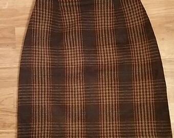 Vintage Plaid Wool Skirt 4p