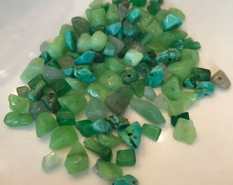 Green Mix of Natural Stone Chip Beads