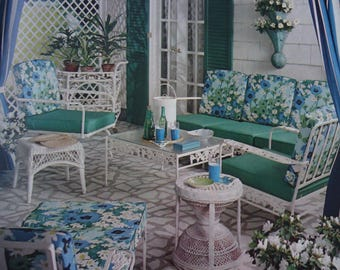1960's Retro Blue and White Porch Scene Print