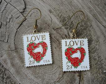 Love Postage Stamp Earrings