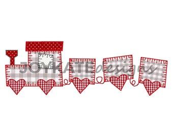 Valentine's Day Heart Train Applique' Embroidery Design, Vintage Raggy Blanket Stitch Train Applique