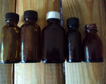 Brown Bottle Collection, Small Bottles, Set of 5 Pieces, Good Condition