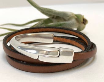 Tan Triple Wrap Half Cuff Bracelet with Magnetic Clasp, Leather Bangle, Unisex Leather Bracelet, Women's Leather Bracelet, Tan and Silver