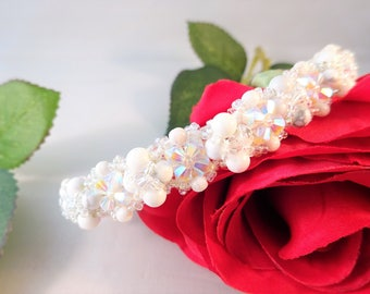 White Beadwork Jewelry, White Wife Gift, Layers Beads Jewelry for Her, Statement Beadwork Bracelet, Elegant Moms Gift, No Shipping Costs
