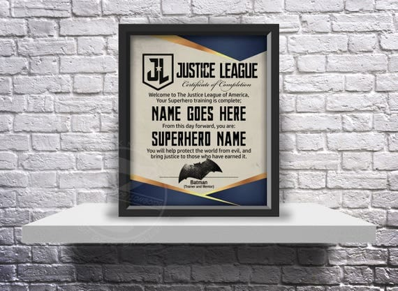 CUSTOM Justice League acceptance certificate - Choose Inserts, Size, and Frame