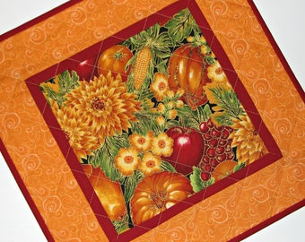 "Autumn Quilted Candle Mat, Quilted Autumn Mug Mat, Square Harvest Table Mat, Thanksgiving Candle Mat, Gold and Red, 12.75"", Quiltsy Handmade"