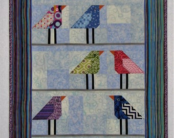 "Folk Art Quilted Wall Hanging, Birds on a Wire Art Quilt, Modern Wall Quilt, 23""x19"", Quiltsy Handmade"