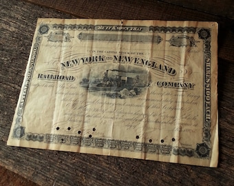 19th Century New York & New England Railroad Company Stock Certificate Dated June 13th 1884