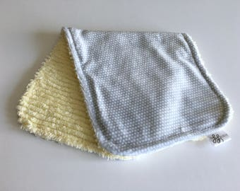 Minky and Chenille Burp Cloth Gray and White Minky Print with Yellow Chenille