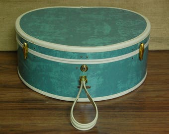Vintage Round Samsonite Luggage, vintage train case, vintage travel suitcase, vintage round 1960's luggage, vintage rare green marble