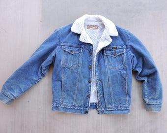 BEAT To HELL Rare Vintage Wrnagler Denim Blue Jean Sherpa Lined Trucker Jacket Work Wear Chore S