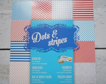 "Block 30 sheets 15 x 15 cm ""Dots and stripes"" scrapbooking"