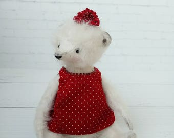 Teddy  bear - german mohair, artist teddy, OOAK bear teddy, fabric art toy , collectible teddy