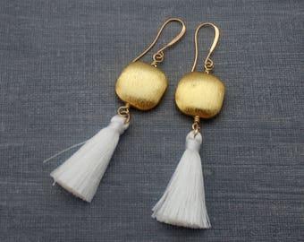 Tassel Earrings - White Tassel Earrings - Matte Earrings - Brushed Gold Earrings - Tassle Earrings, Boho Earrings, Geometric Earrings