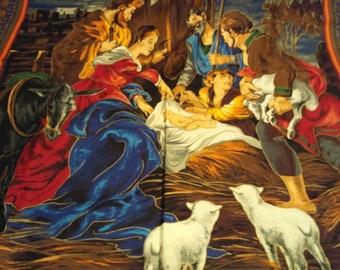 Jesus, Mary and Joseph Manger Scene Quilt Panel