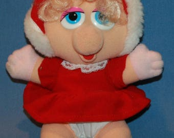 "Miss Piggy Plush Christmas 1987 Henson 10 1/2"" Muppets Stuffed Animal Pig Vintage Santa Outfit Christmas"