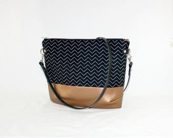 Zig zag copper Crossdiv bag with leather handles