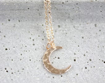 Hammered Moon - gold-plated necklace A56