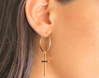Cross Hoop Earrings, Minimalistic Cross Charm Earrings, cross earrings, hoop earrings, dangle cross earrings, Dainty cross hoop earrings