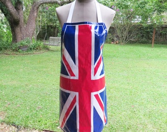 Vintage Union Jack Apron- PVC/Cotton British Flag Apron