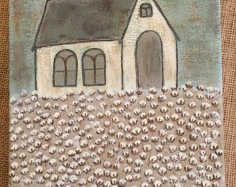 Church In Cotton Field Painting