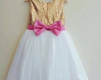 Gold, White and Pink Flower Girl's Dress. Gold, ivory and pink tutu dress for girl, Pink Bow Dress