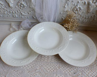 French vintage white ironstone soup plates. Majolica style soup plate. Harvest theme.