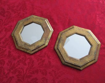 """Pair of small patina gold ornate octagon mirrors size 7 3/4 """" each"""