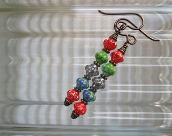 Multicolored Linear BOHO Czech Glass Earrings Simple but Fancy Lightweight and Affordable BOHO Earrings Hypoallergenic Niobium French Hooks
