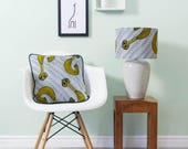 African lampshade and pillow set - African print lampshade - African  pillow - throw pillow - scatter cushion - Navy and yellow whip