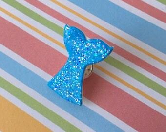 Handmade Blue Mermaid Tail Pin Badge