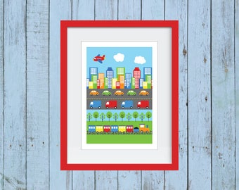 Busy City - Cars and Trucks Wall Decor - Planes, Trains, and Automobiles
