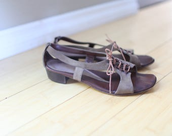 vintage brown strappy leather strap lace up oxfords sandals womens 8 1/2