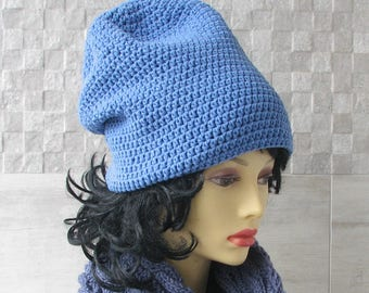 Blue Jeans cotton hat, summer slouchy beanie, vegan women's beanie, Hat for dreads