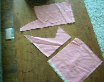 Antique Silk/cotton Velvet Pale pink French Millinery,  Dolls Victorian