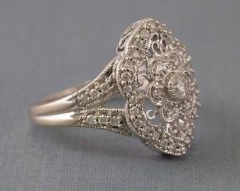 Solid 14K White Gold & Diamond Filigree Ring 5.8 Grams