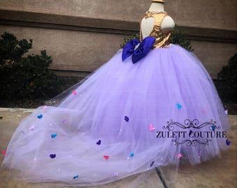 Flower Girl Dress - Lace Dress - Big Bow Dress -Wedding Dres- Girls Lace Dress - Antonella Dress by zulettcouture