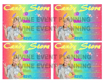 JoJo Siwa Printable candy store invitations, download party favors, instant downloads, diy
