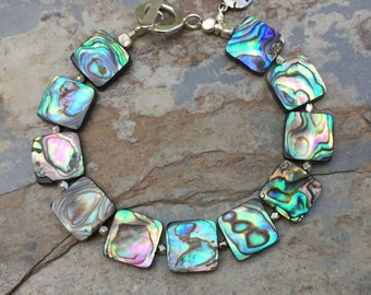 Abalone Bracelet, Abalone and Sterling Silver Bracelet, Beach Bracelet, Hawaiian Bracelet, 7.5 inches