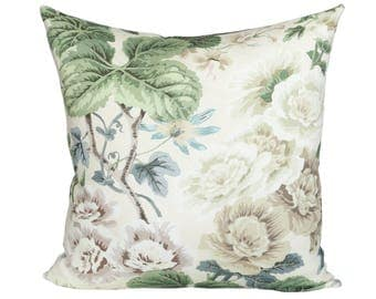 READY TO SHIP - 20x20 Highgrove Floral designer pillow cover with ivory linen reverse