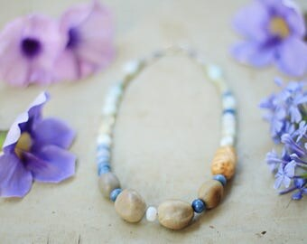 Boho necklace pale blue/ wood seeds stones beaded necklace / nature lover necklace