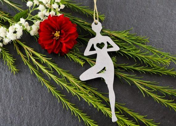 Love Tree Pose Christmas Ornament Yoga Rustic Metal Ornament
